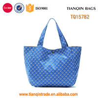 wholesale blue polyester reusable shopping bags