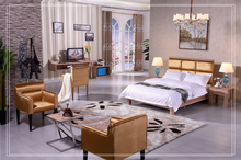 Middle East Popular Economic Hazelnut Collection Hotel Family Room Furniture for Hotel with twin bed 2015-C005