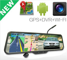 Car rear use Android 4.0 monitor+WIFI+Bluetooth+DVR rearview mirror gps wireless camera