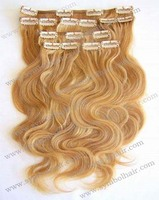 Best selling 16inch 27# BW malaysian hair clip in hair extension