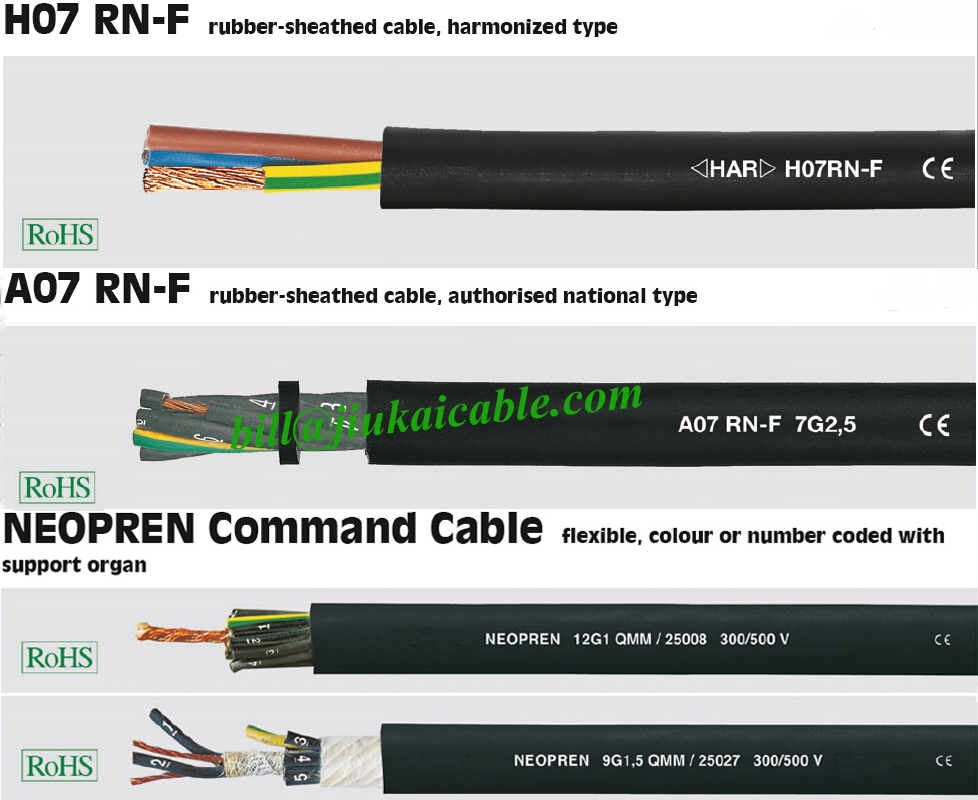 Structure Dimension H07RN F Tough Silicone Wire Neoprene Cable