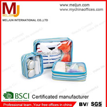 clear pvc 3-in-1 travel sets, convenient portable pvc tolietry bags/pvc organizer bag set for travelling