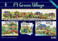 """Most popular cross stitch kits""""A green village"""",good quality cross stitch fabric"""