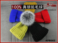 Womens Girls Knitted Fur Hat Real Large Silver Fox Fur Pom Pom Beanie Hats