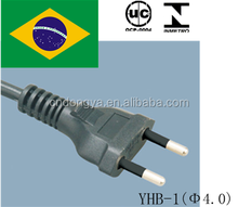 UC approval 250V 10A Brazil 2 pin electric cord plug for computer