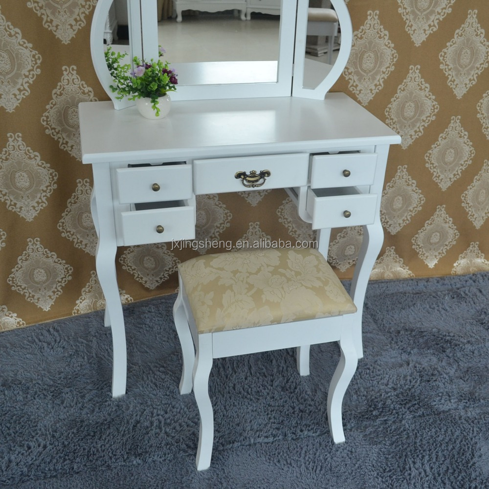 Bedroom Furniture Solid Wood White Vanity Dressing Table Set Wooden