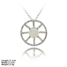 [ XDZ-1382 ]Shape of Wheel 925 Sterling Silver Pendant with Moonstone