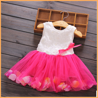 2015 new style casual sleeveless ruffle girl dress 2-10 year