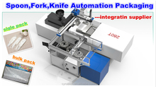 plastic spoon,fork,knife automated packaging system disposable cutlery servo auto packing machine