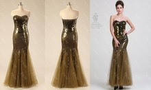 2015 Real Pictures Sweetheart Mermaid Crystal Sexy Evening Dress With Sequined