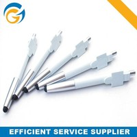 White Barrel Silver Tip Screen Stylus Touch Pen for Laptop