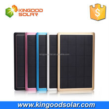 High quality Aluminum casing super thin 1cm Dual Output 10000mah charger solar power bank for mobile phones and USB devicecs