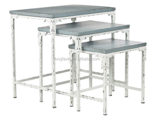 24 x 16 x 24 inches Home Collection Stacking Tables, Pale Blue and White