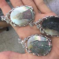 Mother of pearl Hot seller natural black mother of pearl jesus jewelry pearl jewelry jesus pendant