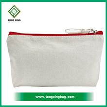 Custom printed logo canvas cosmetic bag make up bag made in china