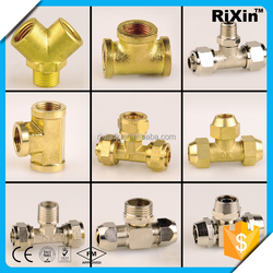 RX-1261 new arrive pipe fittings stainless steel hex nipple stainless steel elbow/tee brass brass reducing compression tee