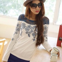 WA3026 2015 spring new arrival round neck long-sleeved embroidered mesh women T-shirt