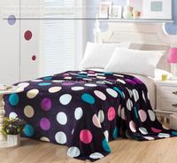 Polka Dot Flannel Blanket Living Room Bedding Soogan Quilt Air Condition Wrap