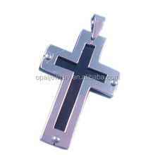 Metel Style Two Tone Plated Two Cross Shaped Jewelry, 316 Stainless Steel Pendant