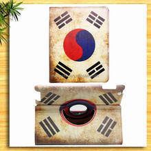 360 Rotation stand National flag pattern leather case for ipad