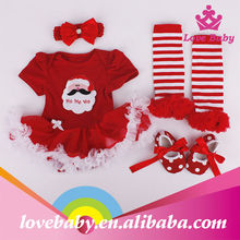 Christmas red ruffle dress santa print baby romper blank