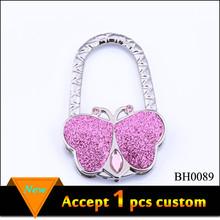 Fashion Pink Butterfly Bag Hanger Zinc Alloy Foldable Bag Hanger