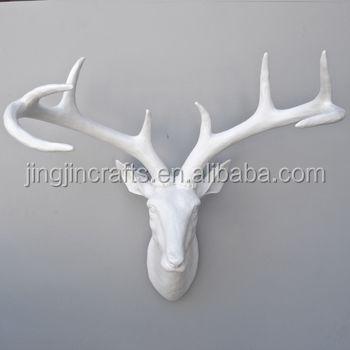 Resina deer head / resina elegante branco chifre de veado decoração da parede artesanato de parede resina artesanato