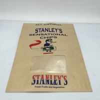 Brown kraft paper ziplock chips bag with stand up and window
