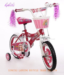cartoon red girls bike/famous beautiful kids bicycle for 4 years old with training wheels