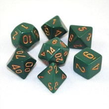 Opaque Polyhedral Dusty Green/copper 7-Die Set, polyhedral dice, polyhedral dice set