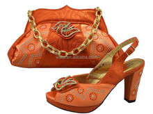 African ladies Matching shoes and bag for wedding and party SB1501 orange