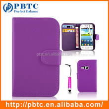 Set Screen Protector Stylus And Case For Samsung Galaxy Young S6310 , Light Purple Leather Wallet Credit Card Case