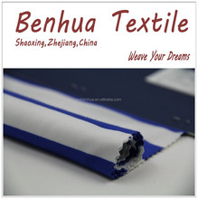 Blue and White Stripe Jersey Knitted Polyester Cotton Fabric