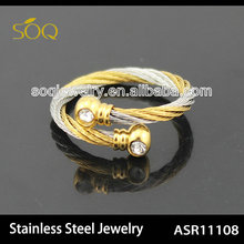 China Factory Direct Wholesale 18k Gold Plated Wire Chain Adjustable Stainless Steel Ring