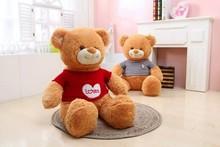 Lovely customized Brown plush stuffed teddy bear ,T-shirt teddy bear,Teddy bear with sweater