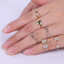 Fine thin ring jewelry, gold/silver alloy ring, bowknot ring infinity love rhinestone finger ring set