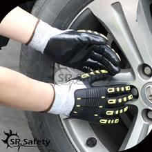 SRSAFETY 13G guantes sin costuras de nitrilo para parar el impacto guantes mecánicos