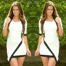 HFR-TN55 Explosion models sexy black and white into color mosaic of irregular packet gluteus medius sleeve dress