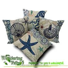 Blue Ocean world starfish conch Octopus linen cotton cushion cover vintage throw pillow case sofa car home decor