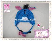 children animal ears long fur hat with cartoon design