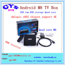 M8 quad core android tv box full hd 1080p media player