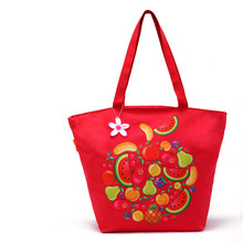 Red Flower Pattern Custom Printing Fashion Canvas Shopping Gift Bag
