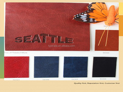 color change pu leather for notebook, packing, comestic bag leather
