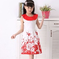 13 Year Old Girls Kid Summer Sweet O-Neck Floral Sleeveless Casual Beach Dress SV020744