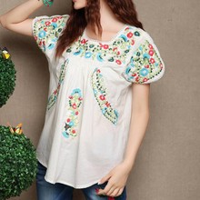 Scallop Top Hippie Mexican Ethnic Floral Mini Cotton Ladies embroidered blouse