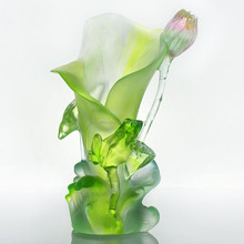 Artbay green crystal glass, colored glaze vase with flower and frog for decoration