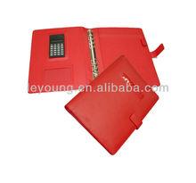 personal de cuero carpeta de anillas cubierta organizador con la calculadora