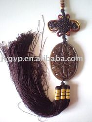 car hanging with natural jade pendant chinese knots