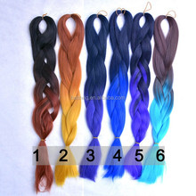 two tone synthetic braiding hair ombre color purple braid hair