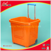 Wheeled 75L plastic walmart shopping basket with handle